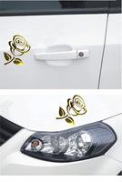 Hot Sale 10pcs/lot 3d Rose Flower Car Sticker Glue Sticker Decals for Car Decoration 2 Colors Available Wholesale