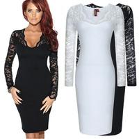S-XL 2015 autumn ladies elegant slim lace patchwork long-sleeve dress slim hip  dress prom dress everning dress LJ049XGJ