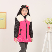 Free Shipping 2014 Baby Outerwear Jackets & Coats Girl Down & Parkas Autumn Winter Kids Down & Parkas Thicker Section