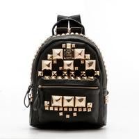 Free Shipping New Arrival Fashion Bags Rivet Rock High Quality Zipper Women Backpacks BA090