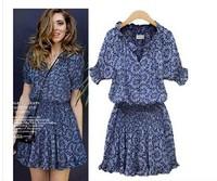 free shipping ! girl's cotton linen dress 2014 European American women's oversize clothing 5XL female vintage print mini dress