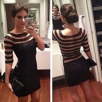 vestido festa curto sexy 2014 New Black striped mesh sequined dress stitching perspective joelho de comprimento vestido