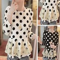 Free Shipping Elegant Trendy Ladies Spring Autumn Blouse O-neck Polka Dot Irregular Fold Hem Long Sleeve Chiffon Shirt 88495