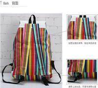 Unisex Striped Preppy Style Canvas Travel Backpac Shoolbag Backpack Shoulder Bag
