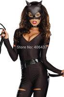 Halloween Hot New Sexy Black Devil Costume Cosplay Ladies V-neck Women Clubwear Jumpsuit Bodywear Exotic Apparel free shipping