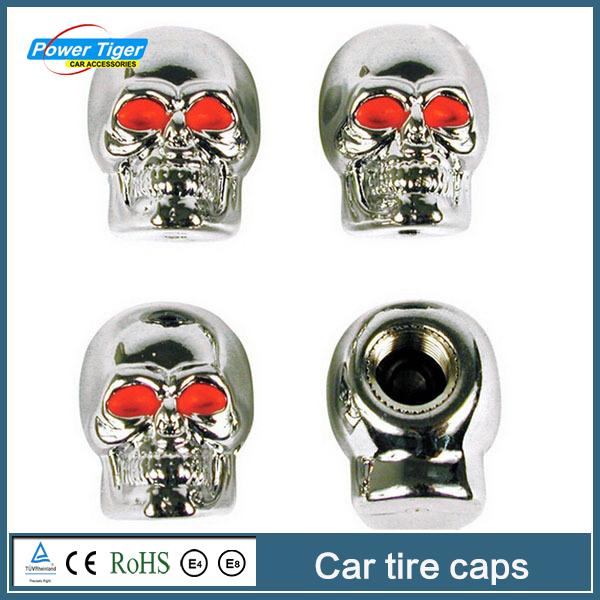 Free shipping Car styling 4 pcs/lot Car Custom Accessories/ Skeleton Skull Wheel Rims air caps/car tire Valves pressure caps(China (Mainland))