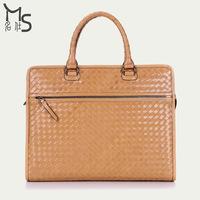 2014 Time-limited Rushed Soft Handbags Men's Bag Men Handbag Weave Leather British Style 15 Inch Multi-function for 100% Genuine