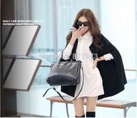 Autumn and winter of 2014 female coat batwing coat woolen cloth coat black loose cloak coat