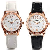 New  Fashion Luxury Watch Casual Rhinestone PU Synthetic Leather Quartz Watch Women Dress Watches Christmas Gift
