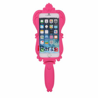 2014 Hot Sale 3D Cute Pink Barbie Doll Magic Mirror Soft Rubber Silicone Protective Back Cover Case for iPhone 6 4.7""