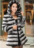 BG80135  New Winter Warm Natural Full Pelt Rex Rabbit Fur   Coat With Hood  Overcoat Free shipping