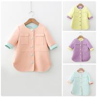 Girls Kids Outerwear Coat Button Front Jacket Half Sleeve Coat