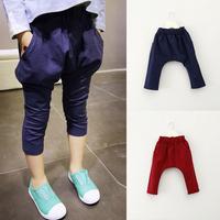 New Kids Girls Harem Pants Solid Color Trousers Pockets Cotton Bottoms
