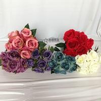 1 Bouquet 6 Heads Artificial Rose Silk Flowers Leaf Party Wedding Decoration