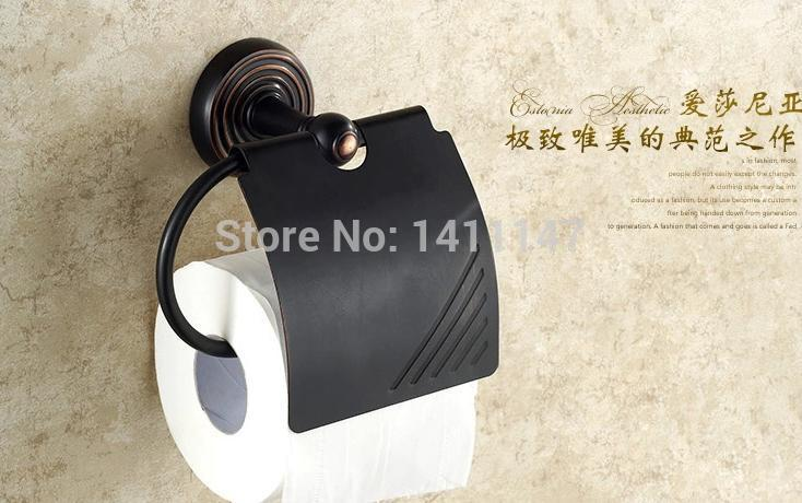 Free Shipping Promotion Modern Euro Style Oil Rubbed Bronze Bathroom Toilet Paper Holder W/ Roll Cover(China (Mainland))