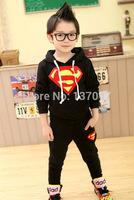 Children Clothing set Sportwear Superman  Autumn/winter hoodie children knitted sportswear sportsclothes