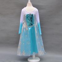 Retail Summer 2014 girl party dress princess costume baby girls elsa dress new frozen dress long sleeve Christmas 39336170145