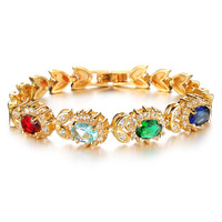 OPK Unique Bohemia Multicolor Big Crystal Bracelet 18K Real Gold Plated Cubic Zirconia Exaggerate Ethnic Women Jewelry