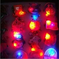5pcs/lot LED toys / flashing badge variety colorful badge / luminous flash brooch / wholesale cartoon mini led badge holder B-72