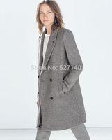 2014 physical texture thick Winter Fleece grey color woolen coat