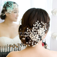 Water Dance Korean red bridal headdress hair ornaments handmade pearl wedding pictures flaxen hair styling accessories wedding s
