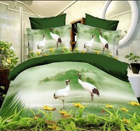13036 green white yellow brown animal Dolphin Seagull Cotton queen size Duvet / Quilt Cover Bedding sets sheet pillowcase