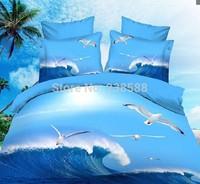 13017  white  blue green animal horse lion leopard tiger Cotton queen size Duvet / Quilt Cover Bedding sets sheet pillowcase