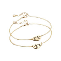 Occident Fashion 18K Gold Plated Partners In Crime Letters Bracelets 2Pcs / Set Wholesale