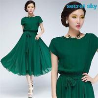 Green Women's Chiffon Belt Long Ball Party Gown Dress design for you only free shipping short dress