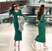 2014 Qiu Dong long dresses a long sleeved knit temperament dress bottom dress hip package tight