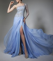Chiffon Fabric Beading Handwork Blue Color One Shoulder Long Formal Evening Dresses Online OL102467 Oucui