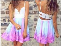 free shipping 2014 cindy  Irregular galaxy sexy dress bacless dress