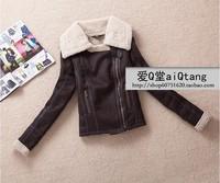 Topshop single lamb fur female oblique zipper female pilot Motorcycle Jacket Coat