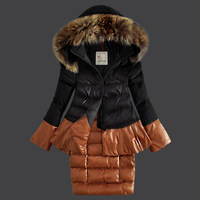 Winter Women Fur Hooded White Duck Padded Down Coat Two Piece Patchwork Jacket Korean Fashion Brand Slim Fit Snow Parkas Outwear