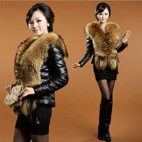 High-grade imitation leather jacket raccoon fur collar grass short and imitation leather clothing female sheep skin simulation