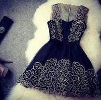New Free Shipping A Line Sleeveless Short Women Black Lace Dress 2015 Gorgeous Homecoming Dress