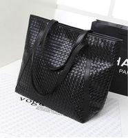 Promotion hot sale! High quality casual women handbag shoulder bag emboss vintage simple kitted  large women bag black color