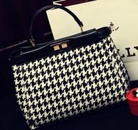 2014 Houndstooth Cotton Flax leopard handbag European and American high-end temperament women handbag Messenger bag