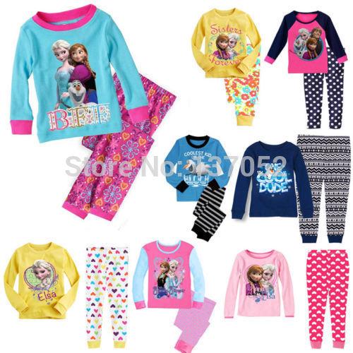 2014 New Kids Boys Girls Sleepwear children's clothing sets Pajama Pyjama Set Clothes For Age 1-7Yrs(China (Mainland))