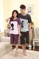 Summer Couples Knit Cotton Short Sleeve Pajamas Set Men Women Long Sleeve Pajama Cartoon Tracksuit Sleepwear 51900