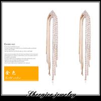 Fashion ear jewelry drop earrings for women accessories brand earrings gold with Czech drill Water droplets shape long earring