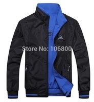 Man spring 2014 New Brand men jacket tracksuit autumn sport men's winter coat fashion two sides waterproof outwear W001