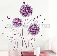 Free shipping 50x70cm DIY Romantic dandelion  New Arrival Creative Removable Mural PVC Home Decor christmas Wall Stickeres