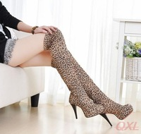 Women High Heel Boot 2014 Leopard Print Boots Stretch Over The Knee Bota For Ladies Sexy Heels Long Booties Women's Winter Shoe