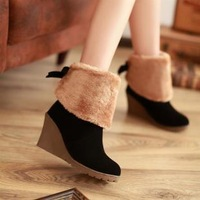 2014 New Winter Snow Boot Women Fashion Summer Man-made Fur Buckle Motorcycle Ankle Boots Shoes size 34-39