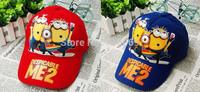 6pcs/lot New Cartoon Kids  Minion Despicable Me Hats Baseball Caps Girl Boys Hats Children Hat Baseball Caps Wholesale