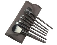 professional 7pcs makeup brush set tools make-up toiletry kit wool brand make up brush set case dark grey colour CZ010