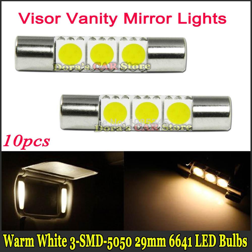 (10) Warm White 3-SMD 6641 29mm car styling LED Bulbs For Car Vanity Mirror Lights Sun Visor Lamp lights(China (Mainland))