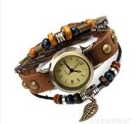 Manufacturers selling leather bracelet table Vintage leather bracelet watch  5pcs