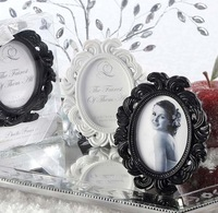 Free Shipping  Newest Baroque Elegant Wedding Place Card Holder Photo Frame packed with pvc box  black and white